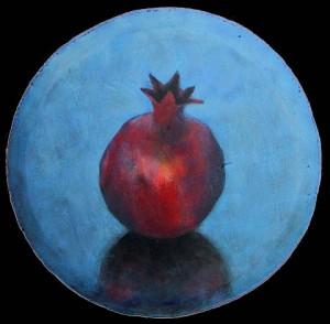Pomegranate on Blue