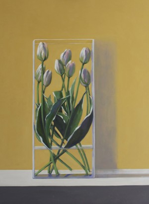 Tulips in vase on gold