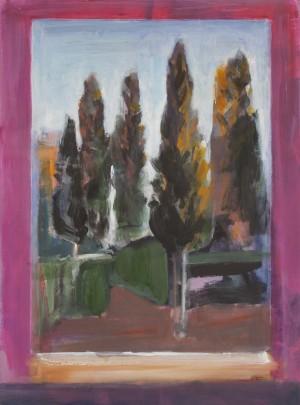 Window & Cypresses