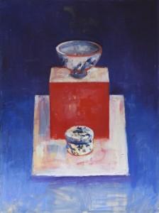 Bowl on Red Box at Night